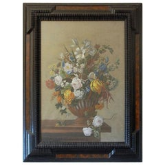Detailed 18th Century Style Framed Pastel Bouquet Drawing