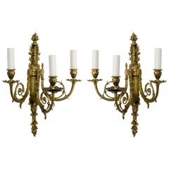 Detailed 2nd Empire Brass 3-Arm Sconces 'Pair'