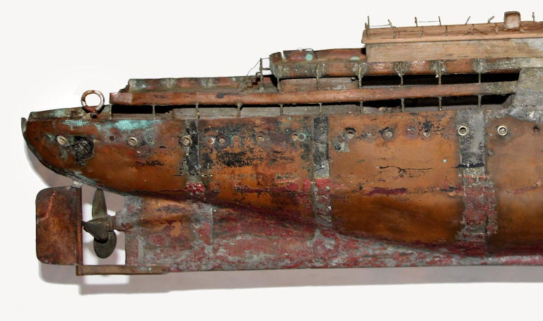 Detailed Antique Copper Ship Model For Sale 4