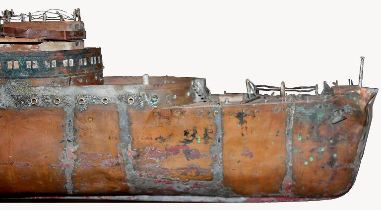 Detailed Antique Copper Ship Model For Sale 5