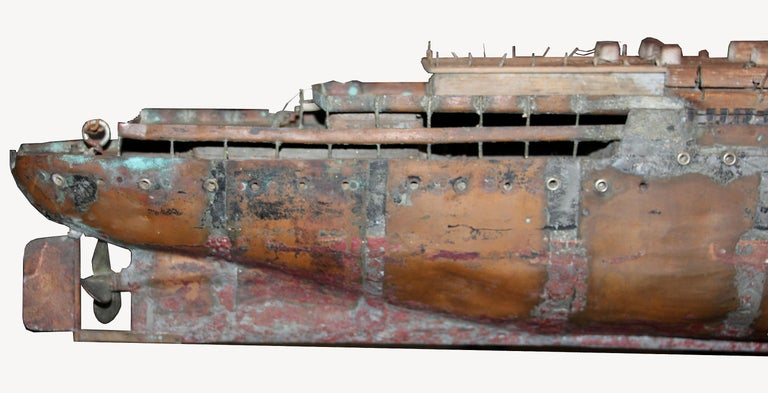Detailed Antique Copper Ship Model For Sale 6