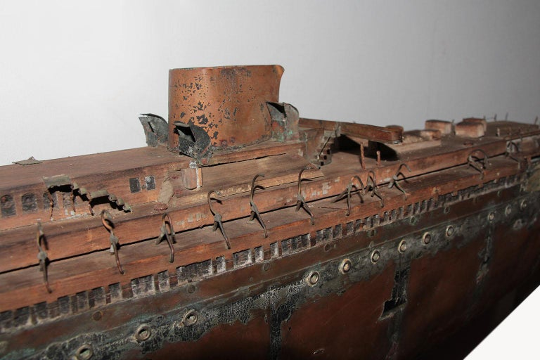 American Detailed Antique Copper Ship Model For Sale