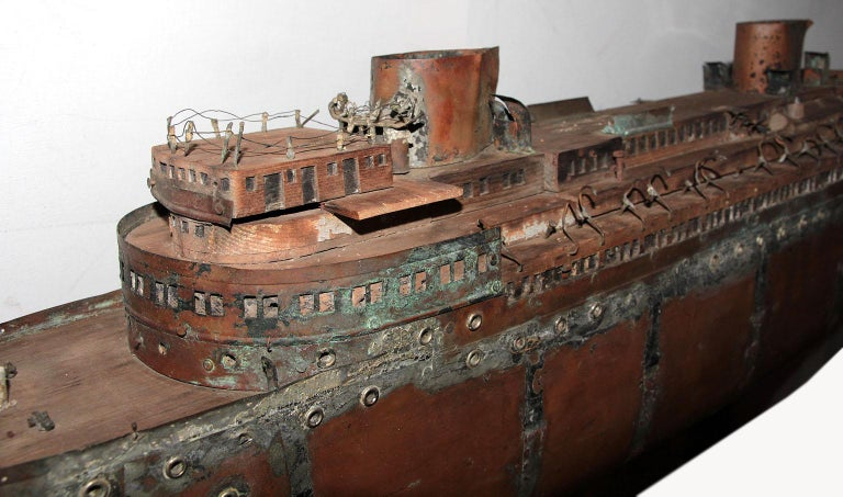 Hand-Crafted Detailed Antique Copper Ship Model For Sale
