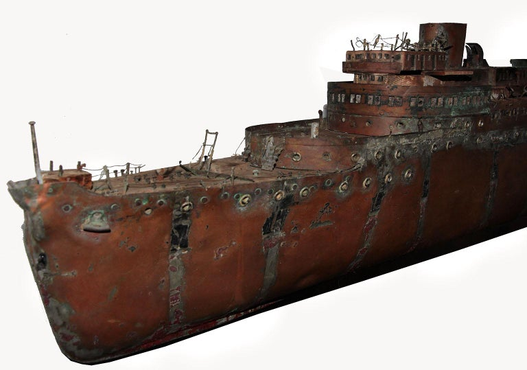 Detailed Antique Copper Ship Model In Distressed Condition For Sale In Sag Harbor, NY