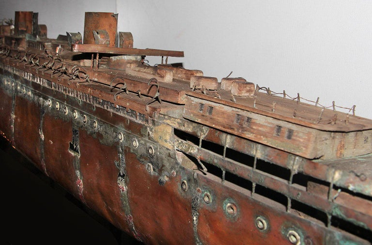 20th Century Detailed Antique Copper Ship Model For Sale