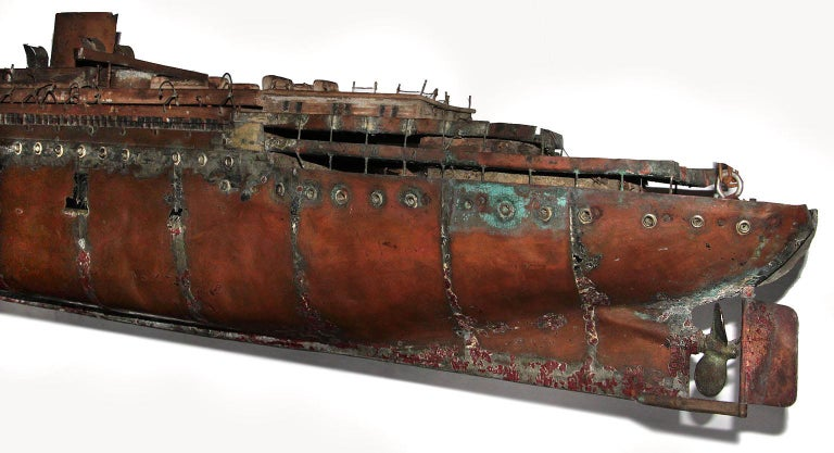 Detailed Antique Copper Ship Model For Sale 1