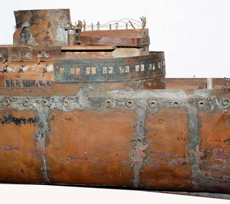 Detailed Antique Copper Ship Model For Sale 2