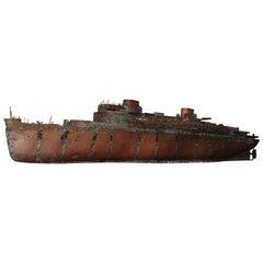 Detailed Antique Copper Ship Model