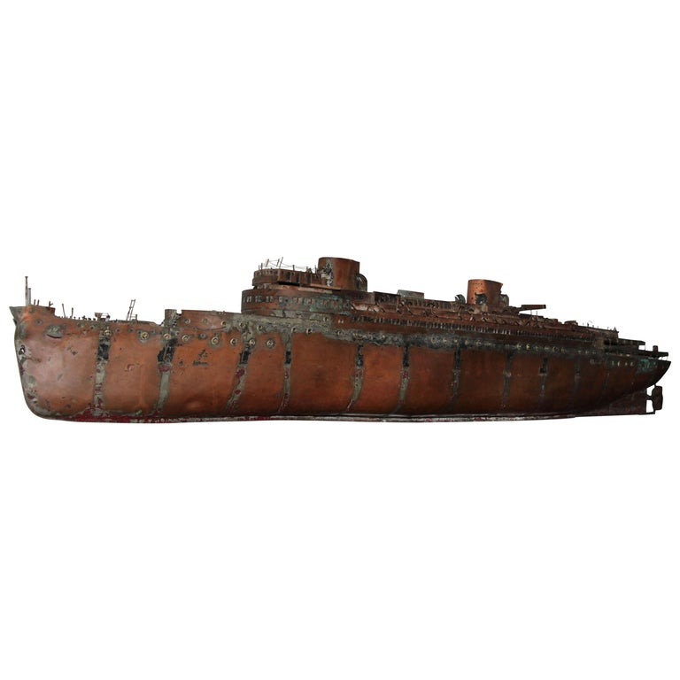 Detailed Antique Copper Ship Model For Sale