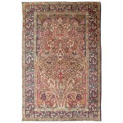 Detailed Antique Persian Lavar Kerman Rug with Floral Design in Ivory Background