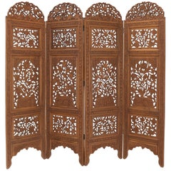 Detailed Carved Teak 4-Panel Room Divider Screen