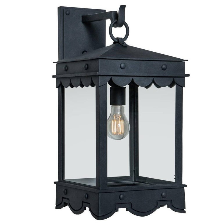 Contemporary Mediterranean Style Four-Sided Arm Mount Lantern  For Sale