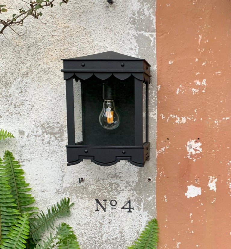 American Detailed Mediterranean Style Flush Mount with Historic Profiles Outdoor Lantern For Sale