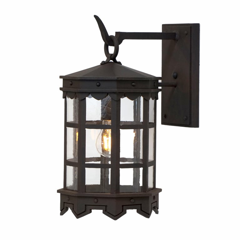 American Detailed Wrought Iron Outdoor Arm Mount Lantern, DLG Antique Glass Brown Finish For Sale
