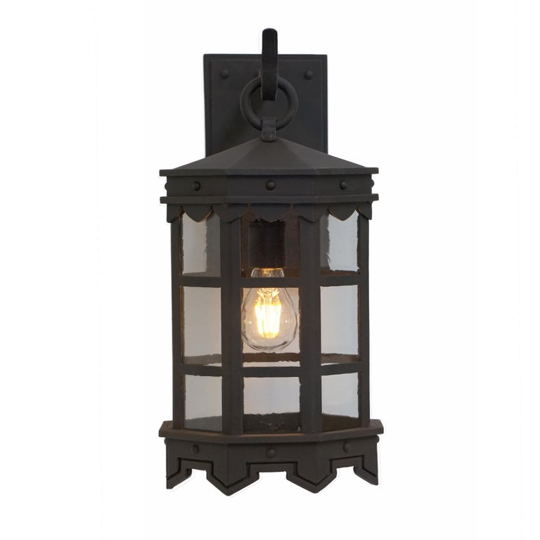 Forged Detailed Wrought Iron Outdoor Arm Mount Lantern, DLG Antique Glass Brown Finish For Sale