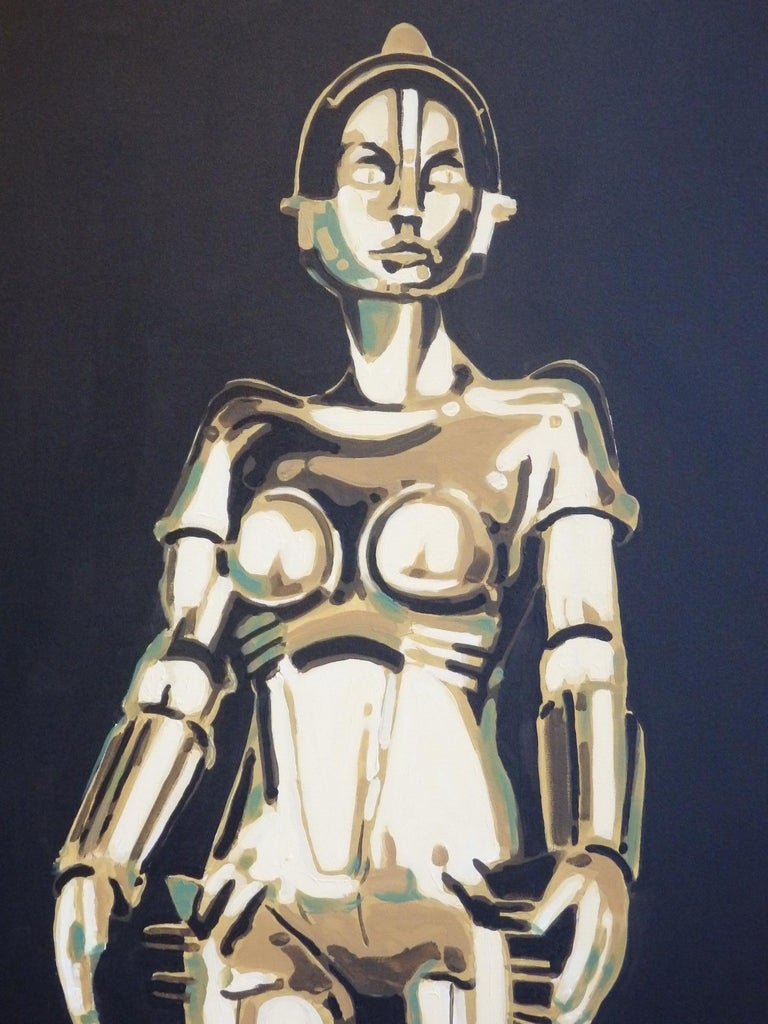 Stunning painting of Machinenmensch (robot) Maria from Fritz Langs silent masterpiece film Metropolis . Painted by Detroit area artist Billy couch. The Maschinenmensch is a character in Fritz Lang's film Metropolis, brought to life by German actress