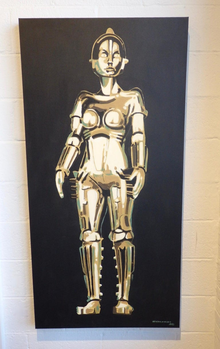 Mid-Century Modern Detroit Artist Billy Couch Acrylic on Canvas Painting Metropolis Robot Maria For Sale