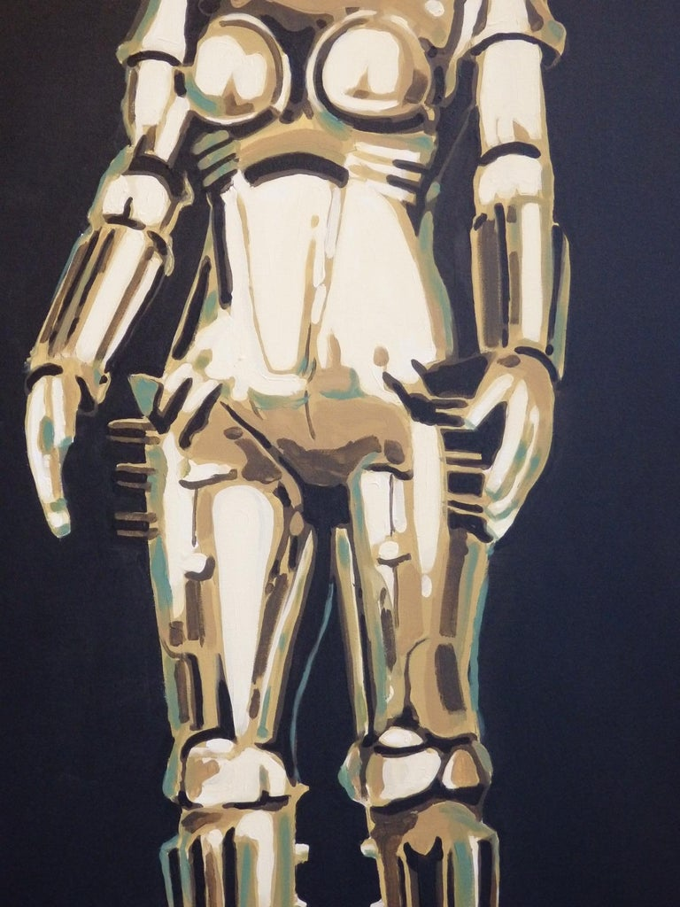 American Detroit Artist Billy Couch Acrylic on Canvas Painting Metropolis Robot Maria For Sale