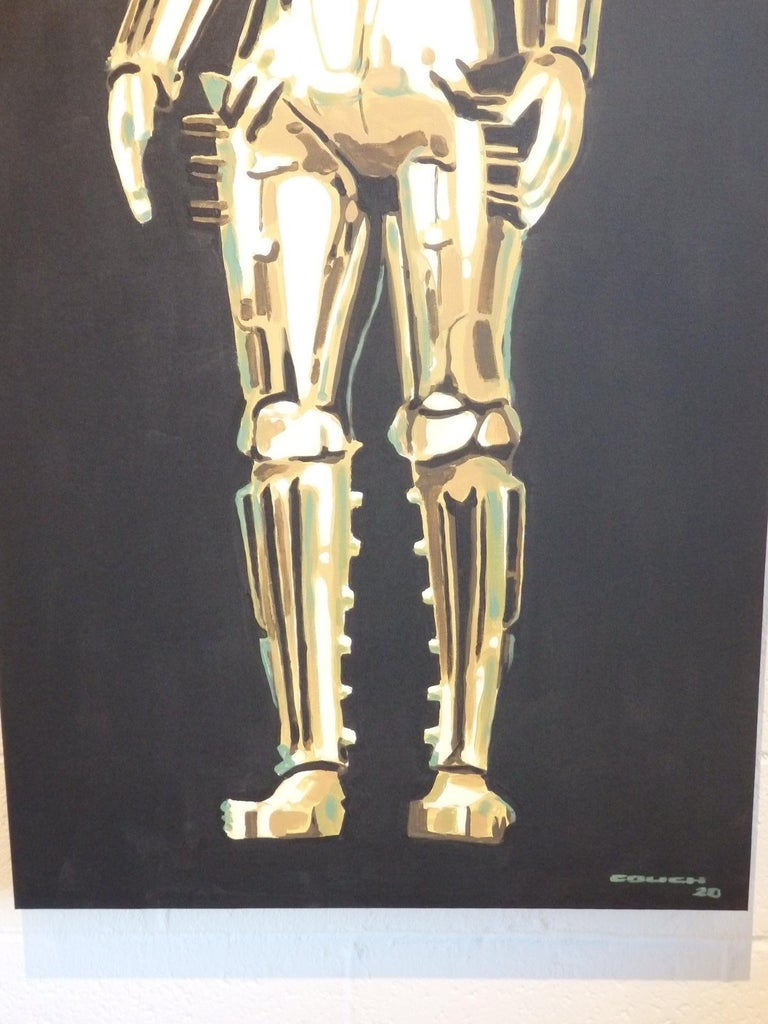 Hand-Painted Detroit Artist Billy Couch Acrylic on Canvas Painting Metropolis Robot Maria For Sale