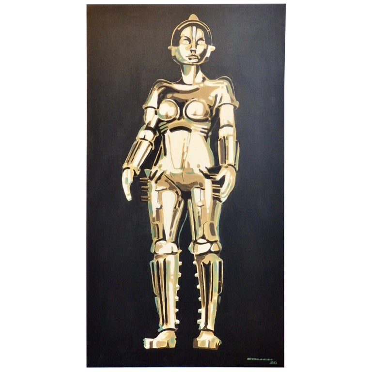 Detroit Artist Billy Couch Acrylic on Canvas Painting Metropolis Robot Maria For Sale