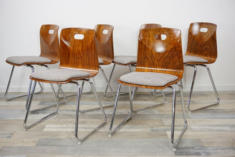 Mid-Century Modern 1960s Pagwood Pagholz Design Set of Six Chairs