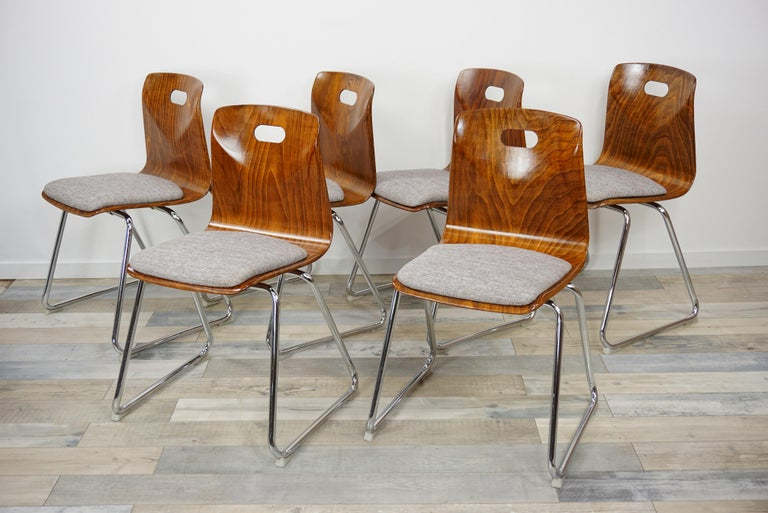 German 1960s Pagwood Pagholz Design Set of Six Chairs