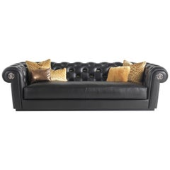 Deva 3-Seat Sofa in Black Leather by Roberto Cavalli
