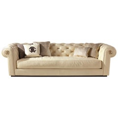 Deva 3-Seat Sofa in Light Leather by Roberto Cavalli