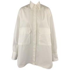 DEVEAUX New York Size 4 White Cotton Oversized MAX SHIRT Pocket Blouse