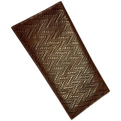 DeVecchi by Hamilton Hodge Brown Woven Leather Wallet, Never Used