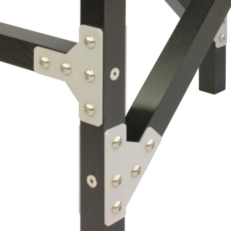 Modern Industrial Hall Table In Black Wood With Metal Brackets For Sale At 1stdibs