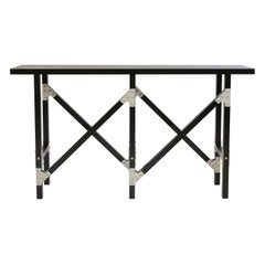 Industrial Refined Hall Table in Black Wood with Aluminum Brackets, In Stock