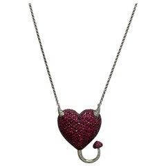 Devilish Handcrafted One-of-a-Kind Ruby and Diamond 18 Karat Gold Heart Necklace