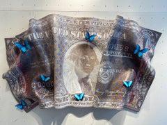 Dollar - contemporary mixed media original pop artwork of wrinkled dollar