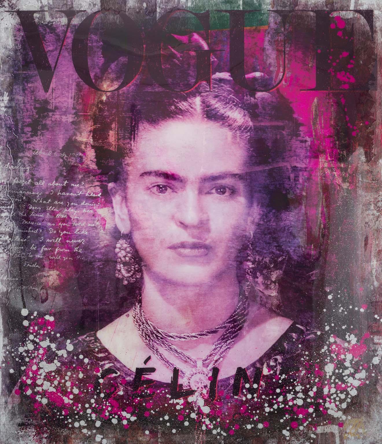 Frida - contemporary mixed media original artwork portrait Frida Kahlo pop art
