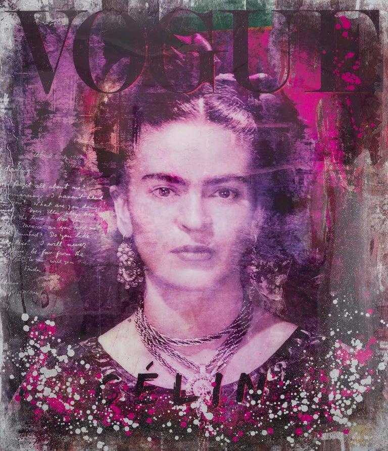 Frida - contemporary mixed media original artwork portrait Frida Kahlo pop art - Mixed Media Art by Devin Miles