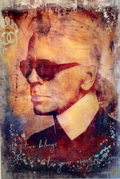 Karl Lagerfeld  - contemporary mixed media original pop art Devin Miles