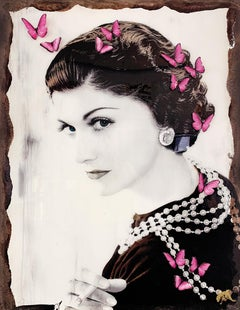 Coco - Popart, Portrait, Coco Chanel, Contemporary Art, Butterflies, 21stC
