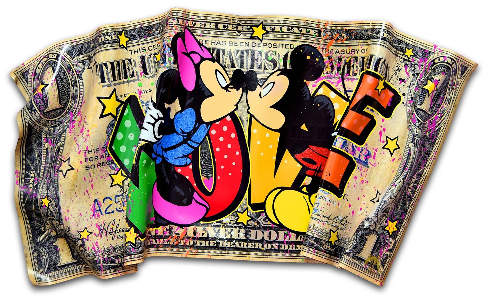 The Kiss- Dollar Edition, Popart, Love, Contemporary, Mickey Mouse, Money, 21stC