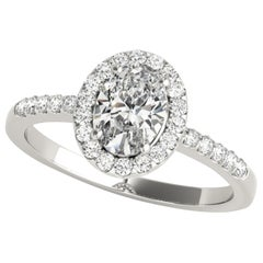Devotion Halo Style Diamond Accented Oval Diamond GIA Certified Engagement Ring