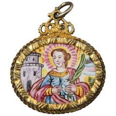Devotional or Reliquary Pendant, Gilt Silver, Enamel, 17th Century