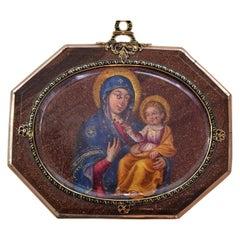 Devotional Pendant, Oil on Aventurine, Gold, Enamel, Spain, 17th Century