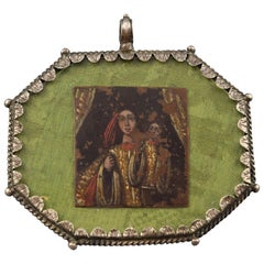 Devotional Pendant or Medal, Painting on Copper, Silver, Glass, 17th Century