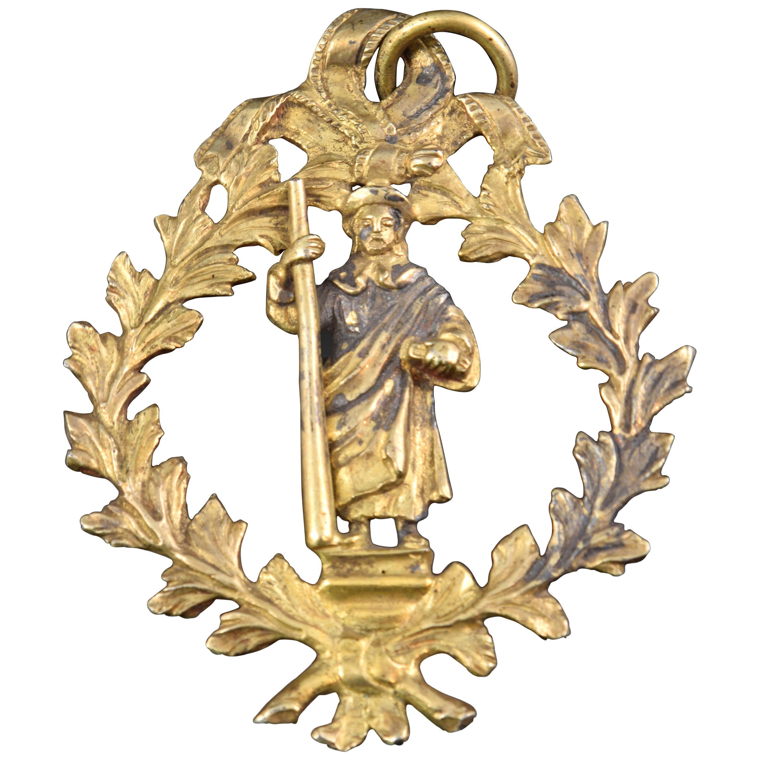 Devotional Pendant, Saint James the Great, Bronze, Spain, 17th Century