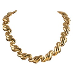 DeVroomen Scrolling Golden Link Necklace
