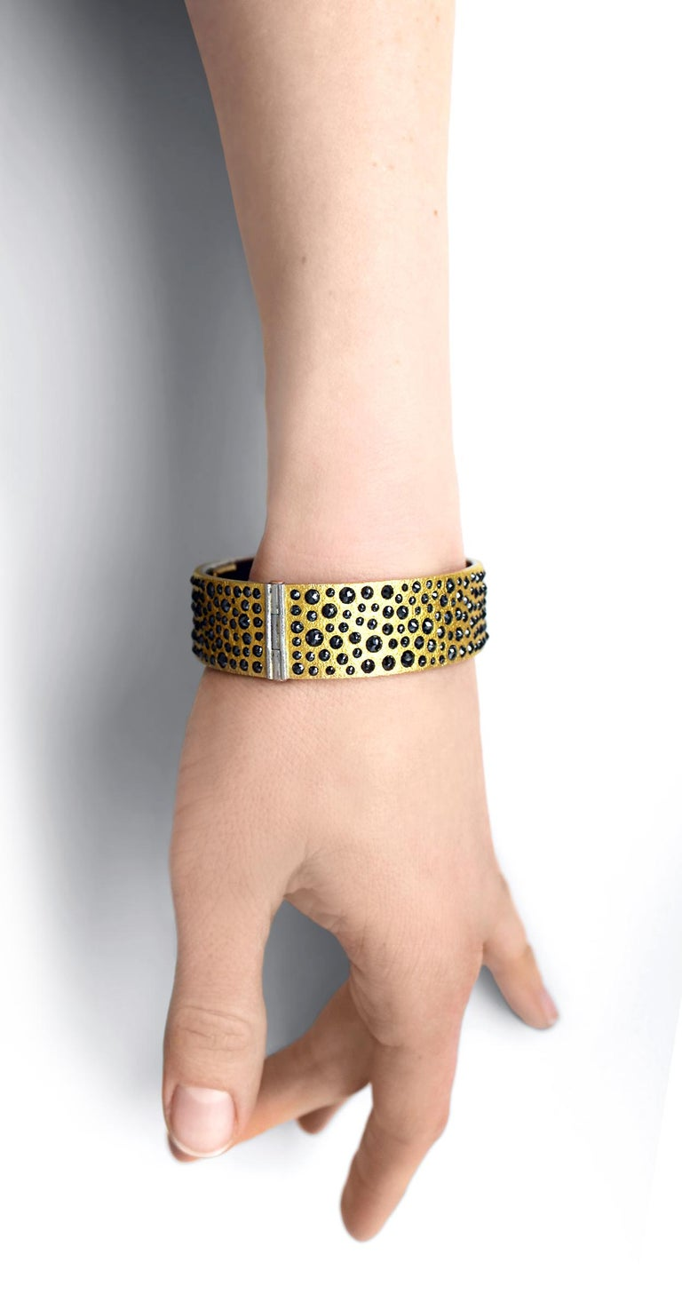 Artist Devta Doolan 10.31 Carat Black Diamond Gold Platinum One of a Kind Cuff Bracelet For Sale
