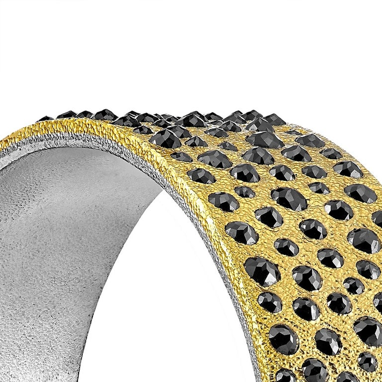 Devta Doolan 10.31 Carat Black Diamond Gold Platinum One of a Kind Cuff Bracelet In New Condition For Sale In Dallas, TX