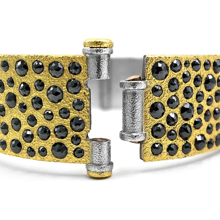 Devta Doolan 10.31 Carat Black Diamond Gold Platinum One of a Kind Cuff Bracelet For Sale 1