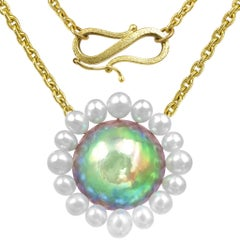 Devta Doolan Abalone and South Sea Keshi Pearl Handmade Gold Platinum Necklace