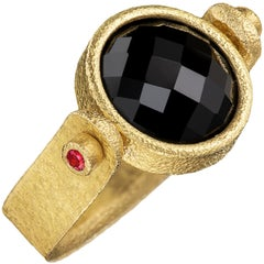 Devta Doolan Black and Pink Spinel High Karat Gold One of a Kind Flip Ring